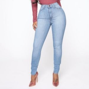 Fashion Nova High Waist Stone Wash Med Blue Jean